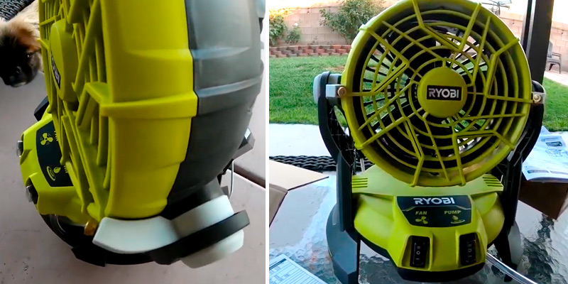 Ryobi 18-Volt ONE+ Bucket Top Misting Fan Kit in the use