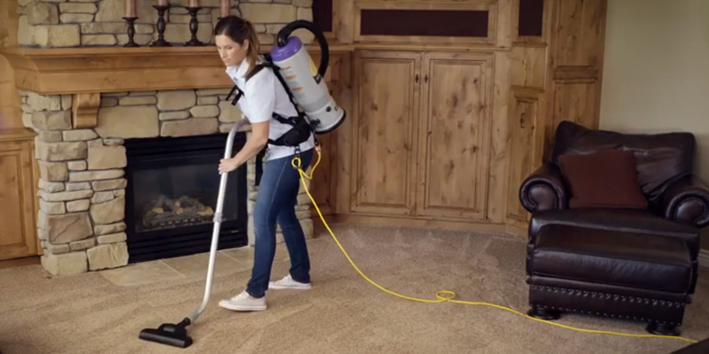 ProTeam Super CoachVac Commercial Backpack Vacuum Cleaner in the use