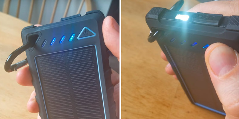HOBEST H186 10000mAh Solar Charger in the use