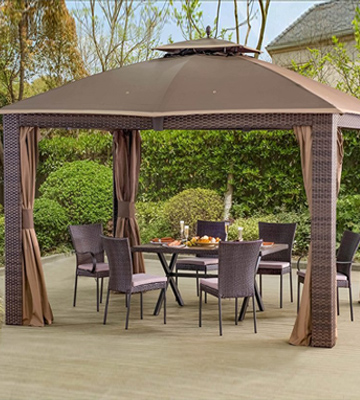 Review of Sunjoy L-GZ815PST 10'x12' Sonoma Wicker Gazebo with Soft Vented Roof