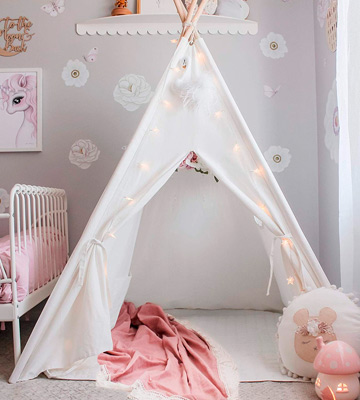 Review of Tiny Land Kids Teepee Tent with Padded Mat & Light String& Carry Case