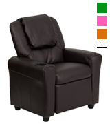 Flash Furniture DG-ULT-KID-BRN-GG Brown Leather Kids Recliner with Cup Holder