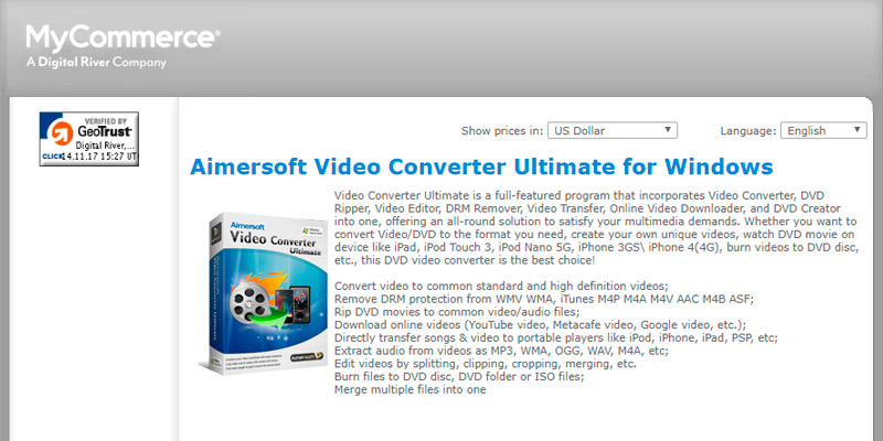 Aimersoft Video Converter Ultimate for Windows in the use