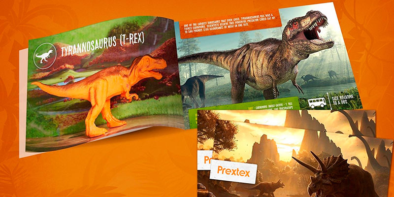 Prextex Assorted Dinosaur Figures with Dinosaur Book in the use