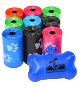 Downtown Pet Supply 180-RainbowPaws Dog Pet Waste Poop Bags With free bone dispenser