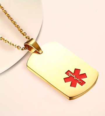 Review of Mealguet Jewelry MG-PN-274G Medical Alert ID Tag -Free Custom Engraving