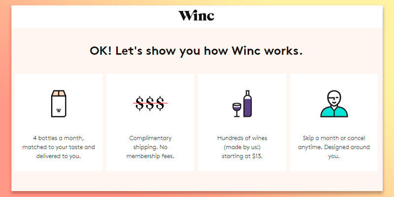 Winc Wine Club in the use