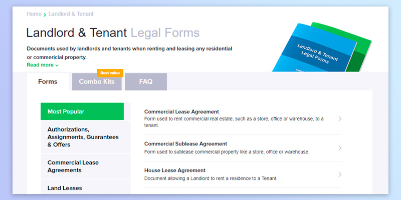 FindLegalForms Lease Agreement in the use