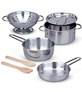 Melissa & Doug Stainless Steel Pots and Pans  Playset for Kids