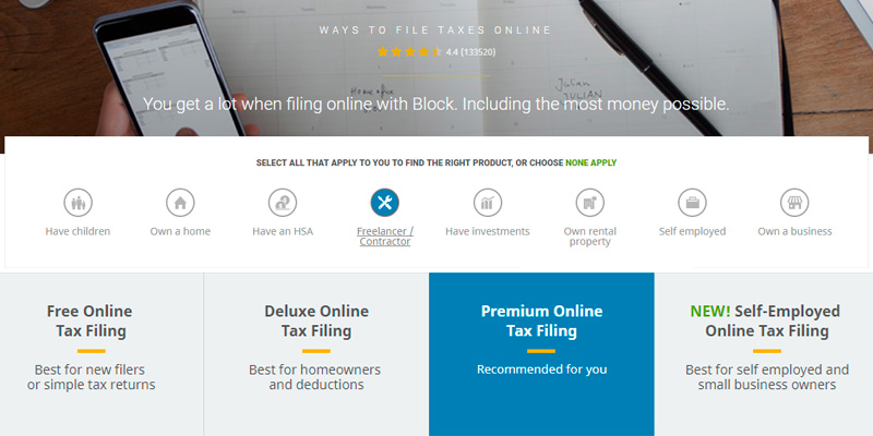 H&R Block Online Tax Filing in the use