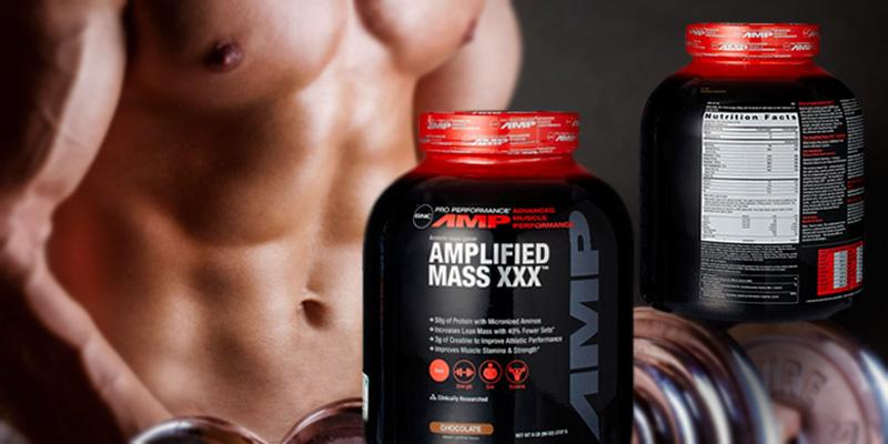 GNC Pro Performance AMP Amplified Mass XXX Weight Gainer in the use