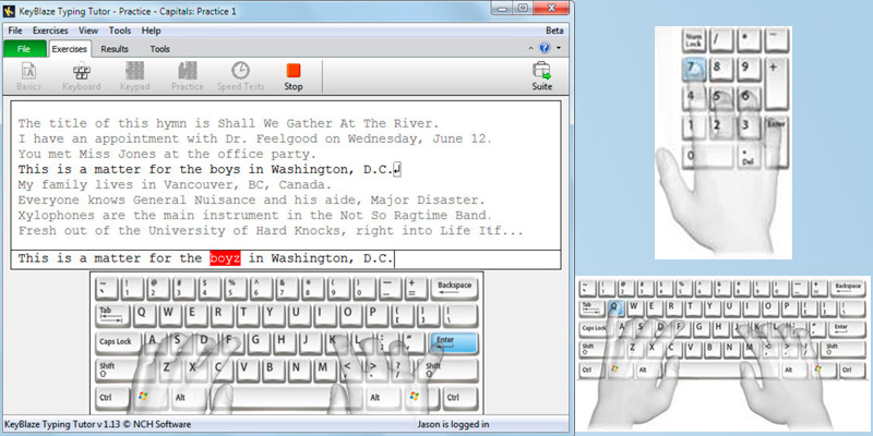NCH Software KeyBlaze Typing Tutor Software in the use