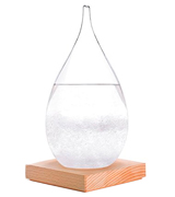 Amymami Storm Glass Weather Predictor with Wood Base