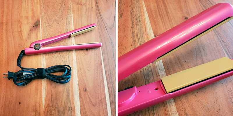 CHI Expert Classic Tourmaline Ceramic Hair Straightening Iron in Pure Pink in the use
