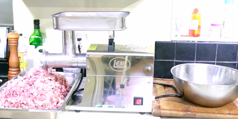 LEM 17791 Big Bite #8 .5HP Stainless Steel Electric Meat Grinder in the use