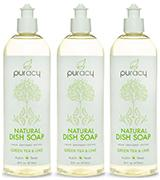 Puracy Natural Liquid Dish Soap, Green Tea & Lime - Pack of 3