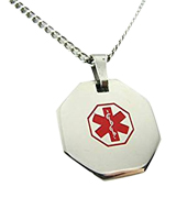 My Identity Doctor P1R-CST-N22 Medical Alert Necklace with Free Engraving