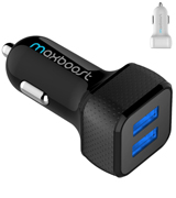 Maxboost CARCHARGER-BBLK 4.8A/24W 2 USB Smart Port Charger [Black] For iPhone X 8 7 6S 6 Plus, Galaxy S9 S8 S7 S6 Edge, Note 8