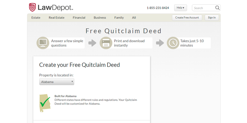 Review of LawDepot Free Quitclaim Deed