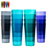 US Acrylic Cafe 20-ounce Restaurant-Style Beverage Tumblers | Set of 16 in 4 Coastal Colors