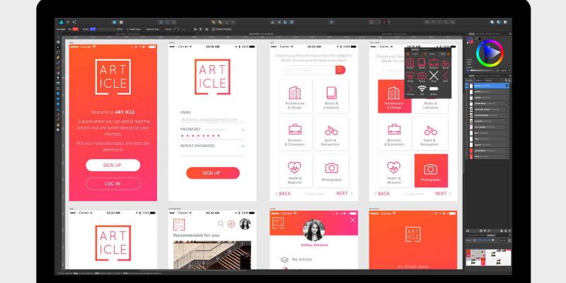 Affinity Designer Professional graphic design software in the use