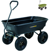 Gorilla Carts GOR4PS Poly Garden Dump Cart with Steel Frame and 10-in. Pneumatic Tires