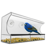Nature's Hangout Window Bird Feeder with Removable Tray, Clear Acrylic
