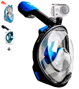 WildHorn Outfitters Panoramic Full Face Mask Seaview 180° GoPro Compatible Snorkel Mask