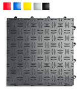 GarageTrac G90048GRPH Diamond, Durable Interlocking Modular Garage Flooring Tile (48 Pack), Graphite