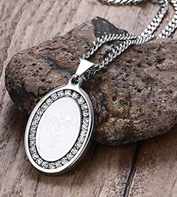 Review of BBX JEWELRY BXPN-673 Stainless Steel Medical Alert ID Cubic Zirconia Pendant Necklaces