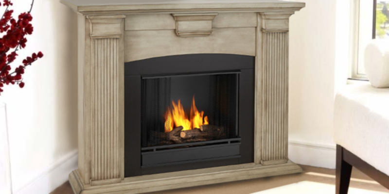 Real Flame Adelaide Indoor Gel Fireplace in Dry Brush White in the use