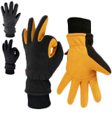 OZERO Deerskin Suede Leather and Windproof Membrane Cold Proof Thermal Gloves