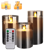 Yinuo Timer Remote Glass Effect Flameless Led Candles