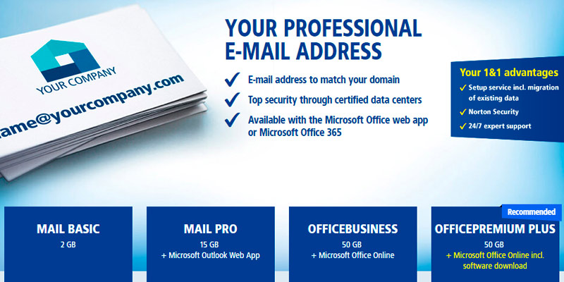 Review of 1&1 Your Professional E-Mail Address