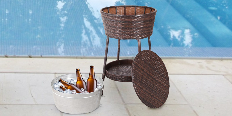 Best Choice Products Wicker Patio Cooler with Tray application