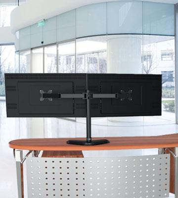 Review of WALI MF002 Free Standing Dual LCD Monitor Fully Adjustable Desk Mount Fits Two Screens up to 27""