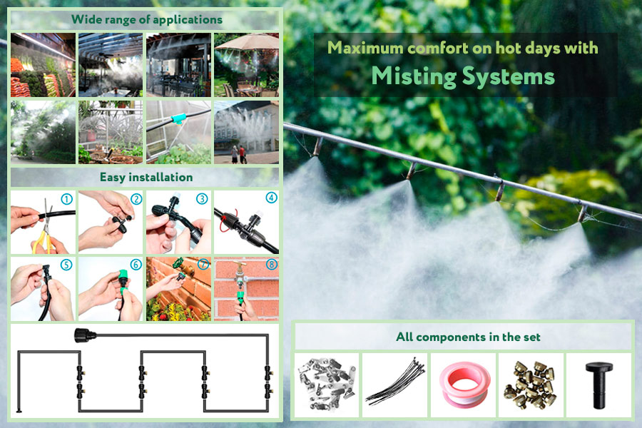 Comparison of Misting Systems for Patios, Gazebos and Backyards Cooling