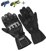 ILM Alloy Steel 15S-BLACK-XL Motorcycle Riding Gloves Waterproof