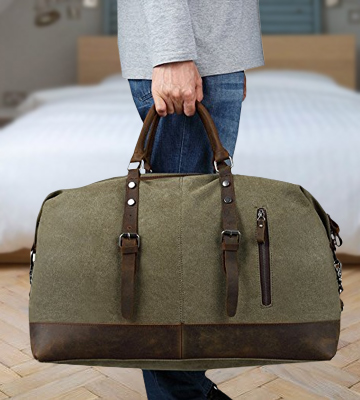 Review of BLUBOON Weekender Overnight Bag Canvas Genuine Leather Travel Duffel Tote