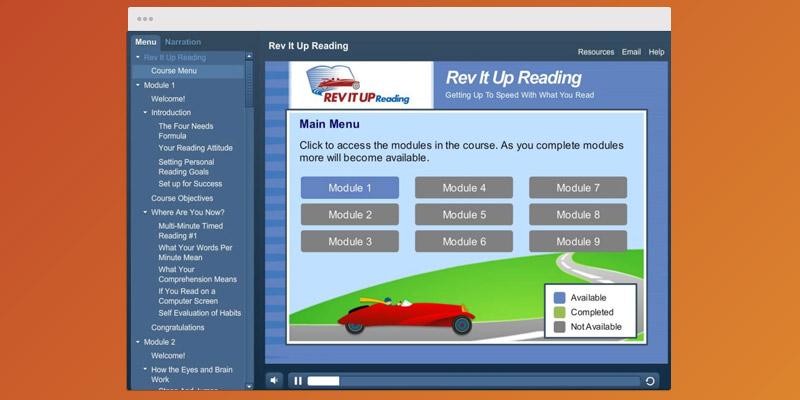Review of Rev It Up Speed Reading Course
