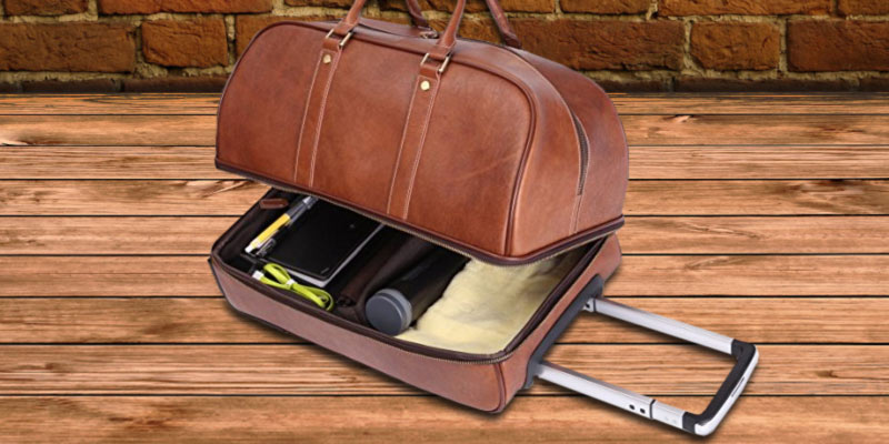 382c03b72e Review of Leathario BLT000131 Men s Leather Luggage Wheeled Duffle