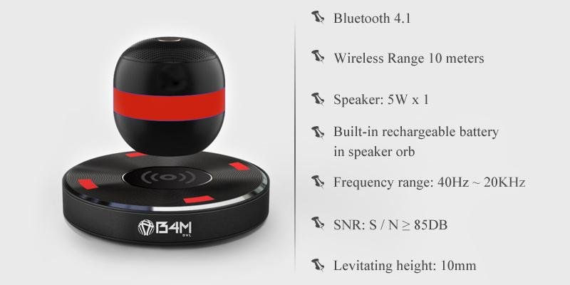 Review of B4M OVL-Dark Black Levitating Bluetooth Speaker - Portable Floating & Rotating Wireless Speaker with Bluetooth 4.1