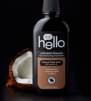 Review of Hello Oral Care Naturally friendly Activated Charcoal Teeth Whitening Fluoride Free Mouthwash
