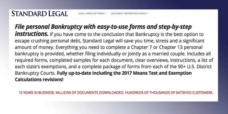 Standard Legal Bankruptcy Legal Forms Software in the use