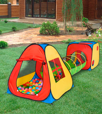 Review of UTEX 3 in 1 Pop Up Play Tent with Tunnel, Ball Pit for Kids