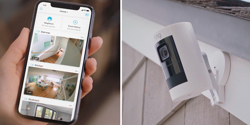 Ring Stick Up Cam Battery HD Security Camera in the use