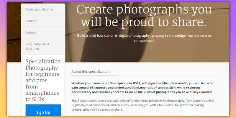 Coursera Photography classes in the use