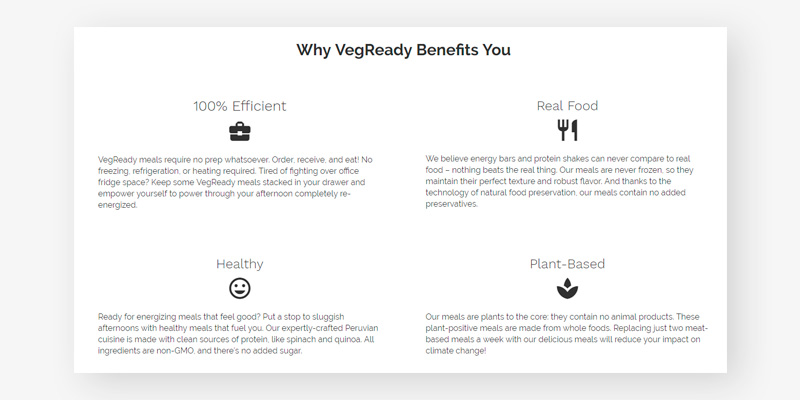 VegReady Vegan Meal Delivery in the use