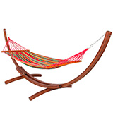 BestChoiceproducts Wooden Curved Arc Hammock Stand