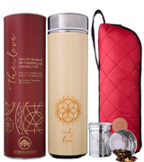 Sacred Lotus Love 18 oz Bamboo Tea Tumbler Thermos with Strainer and Infuser + Sleeve